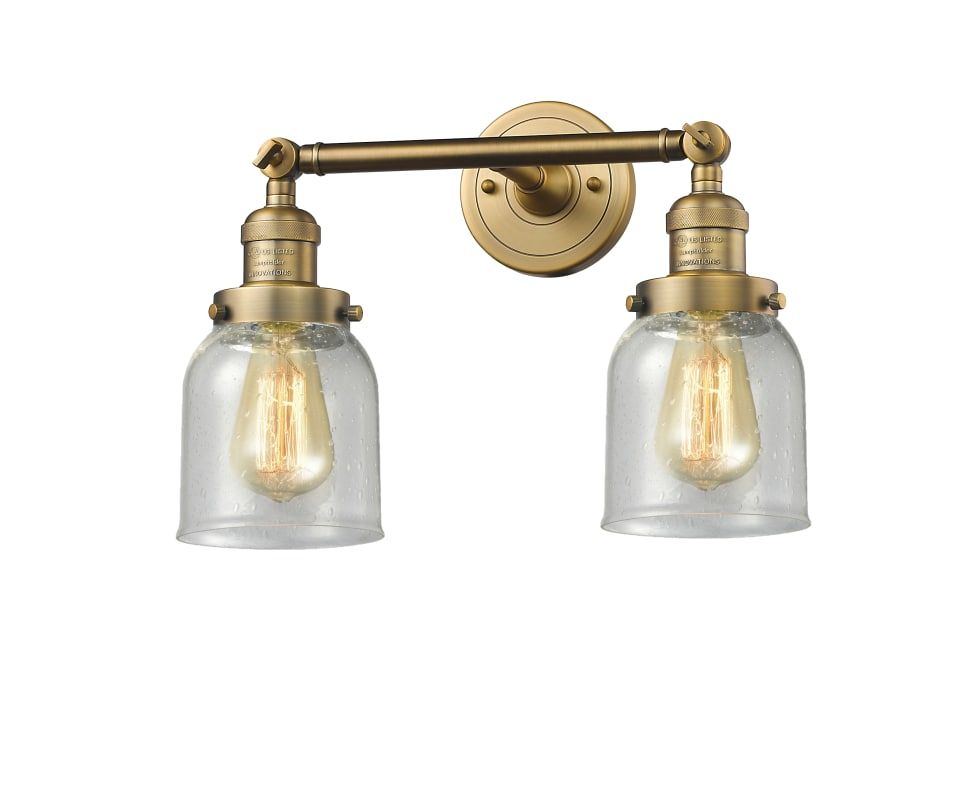 "Photo of Innovations lighting 208-BB-G54 brushed brass / shabby small bell 2 lights 15 ""wide bathroom vanity light with several shade options"