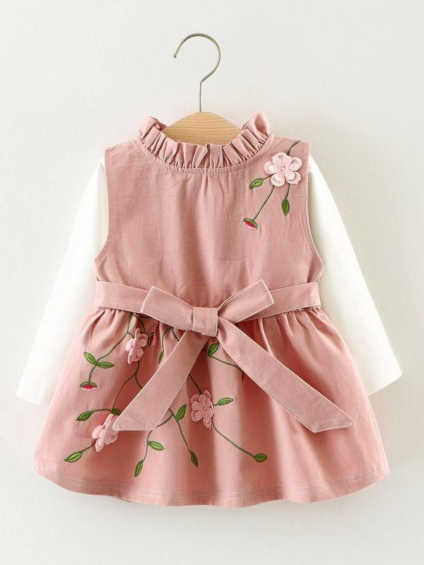 8a5cffeb52d 2PCS Style Baby Dress Set Flower Embroidery Sleeveless Bow Dress +White  T-shirt Top  baby  instakids  babywear  motherdaughter  kidsaccessories ...