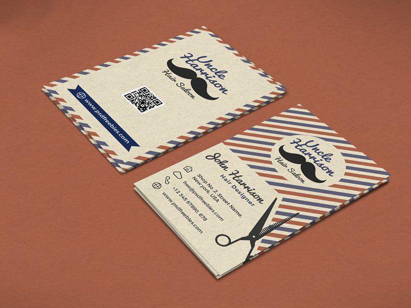 Retro Barber Shop Business Card Template PSD   PSD   Pinterest ...