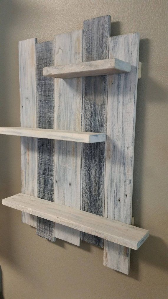 Handmade Reclaimed White Washed Wood Shelving Wall Decor. Rustic Wall  Hanging Shelf. Wood Wall Art