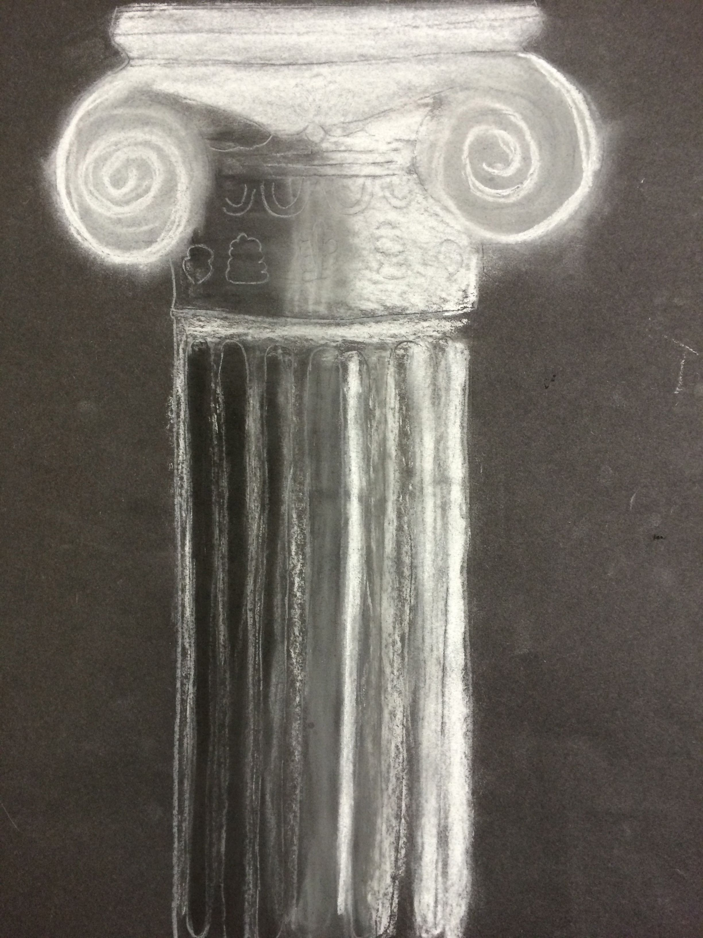 Primary Yr 4 Chalk And Charcoal Column