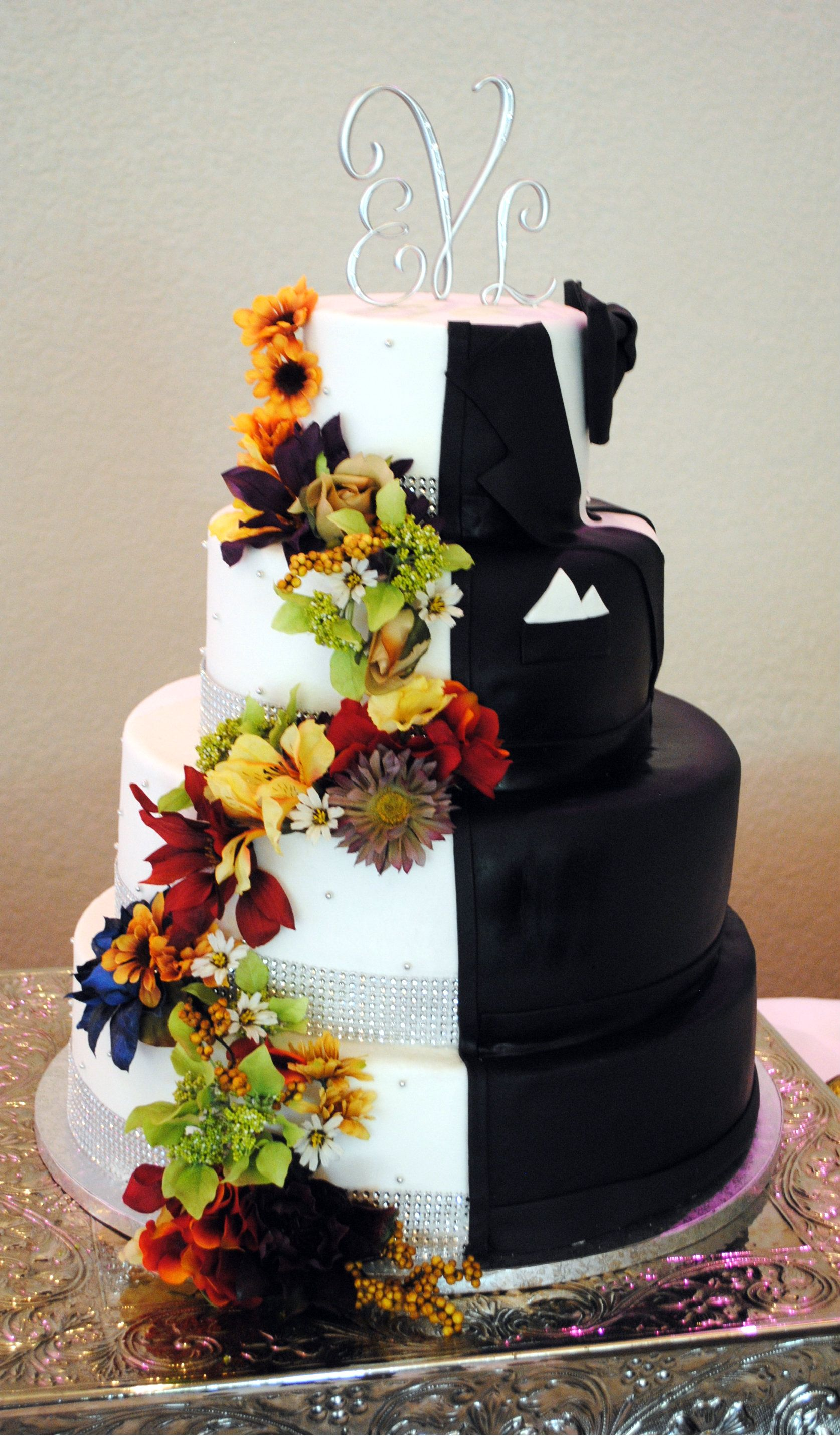 half wedding cake half grooms cake half half groom fall wedding cake custom cakes 15054