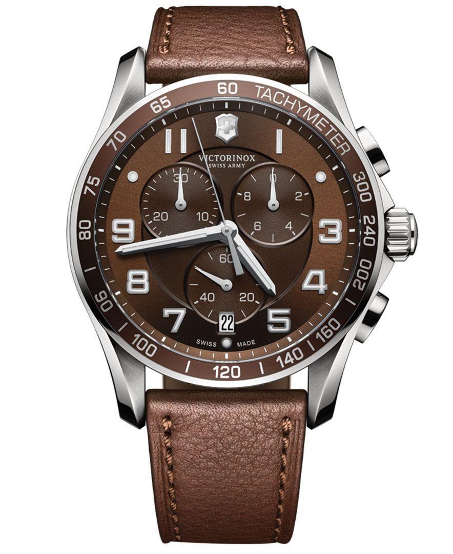 victorinox swiss army mens chronograph classic xls brown