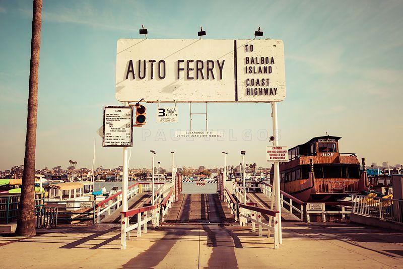 Art print stock photo balboa island ferry newport beach