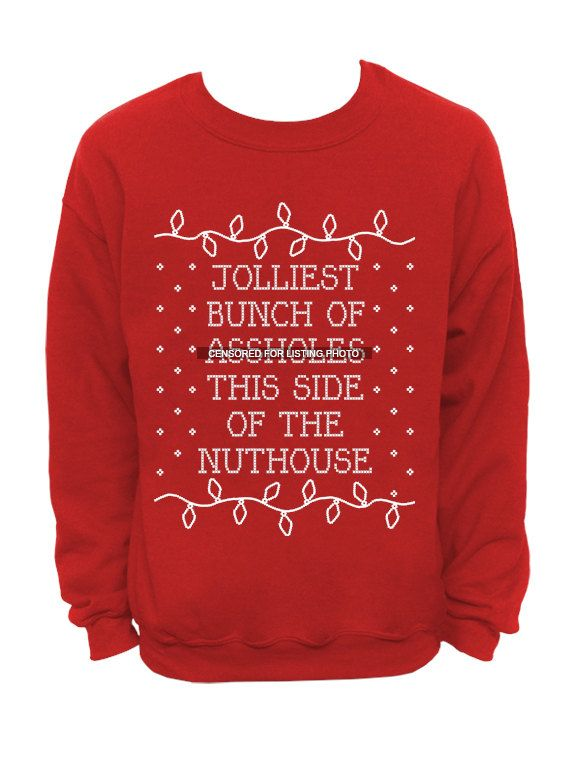 Ugly Christmas Sweater Red Mens Crew Jolliest Bunch Of Ssholes