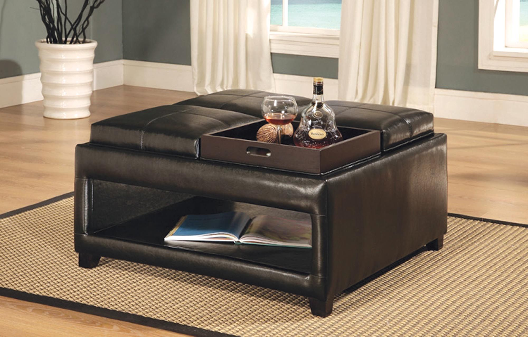 Cocktail Storage Ottoman Espresso Four Tray All Top Cushions Convert To Trays Leather Ottoman Coffee Table Leather Coffee Table Square Ottoman Coffee Table