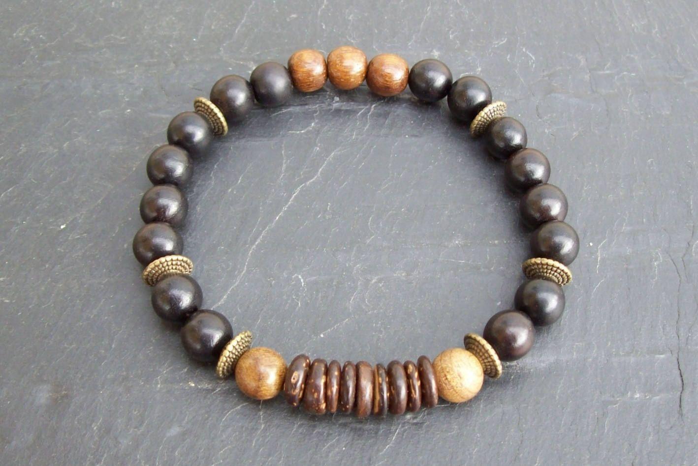 Mens bracelet tribal bracelet ebony wooden bracelet mens