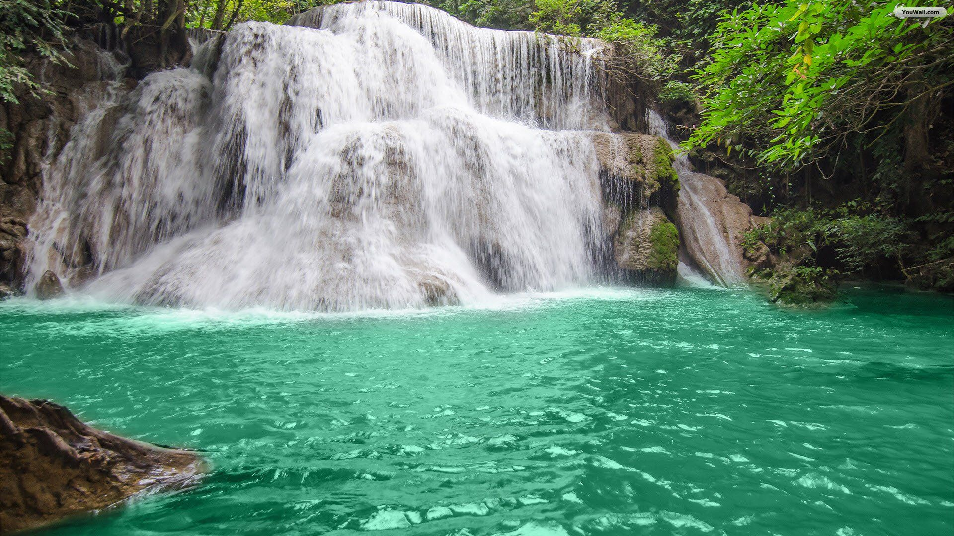 YouWall Green Lake Waterfall Wallpaper wallpaper