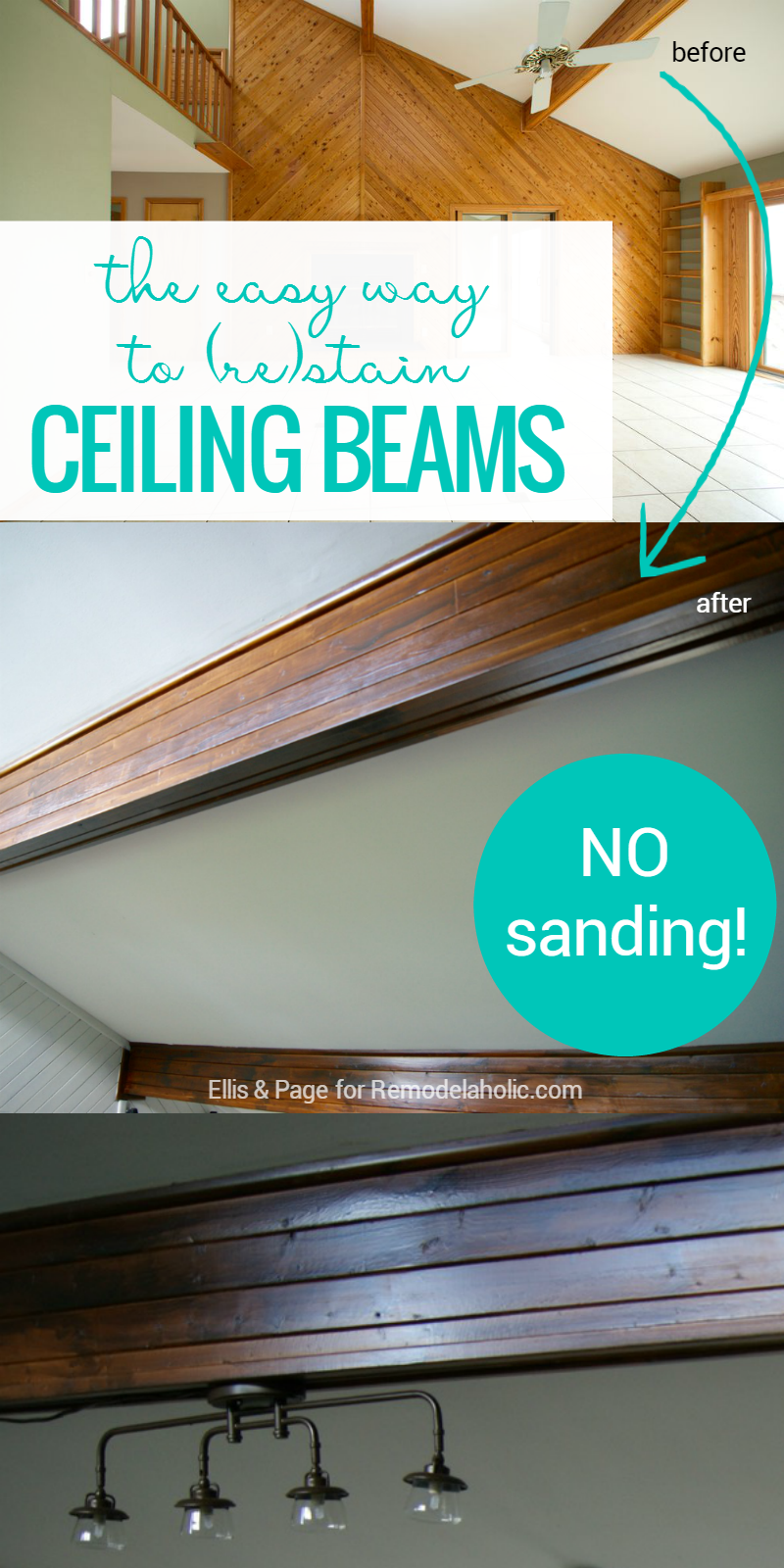 Easy Way To Stain Wood Ceiling Beams Remodelaholic Stained Wood Beams Wood Beams Staining Wood