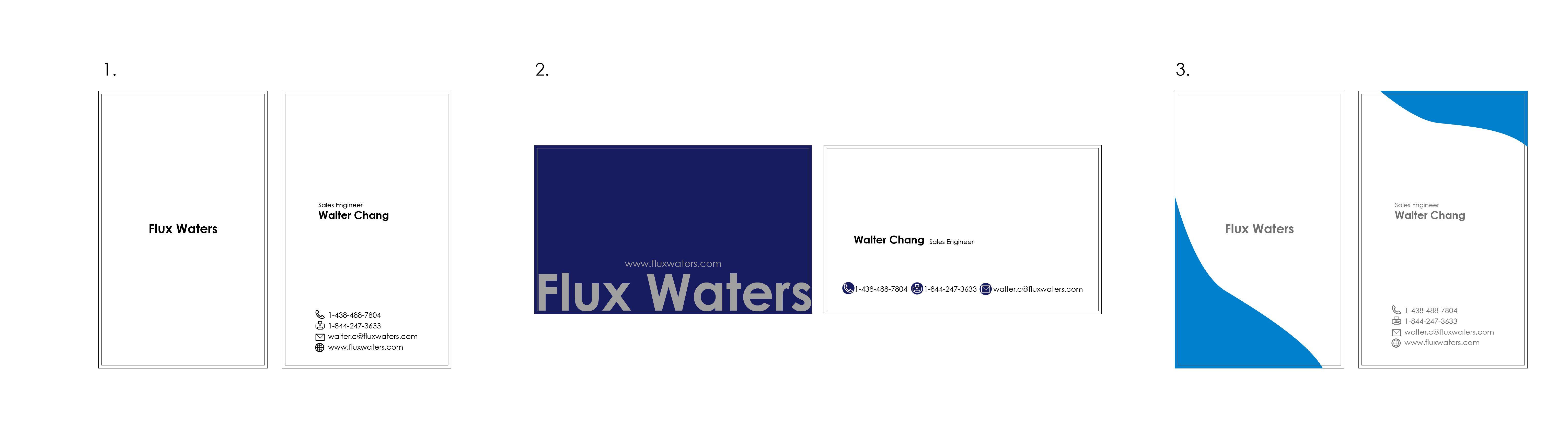 Flux Water Walter Chang  business card design