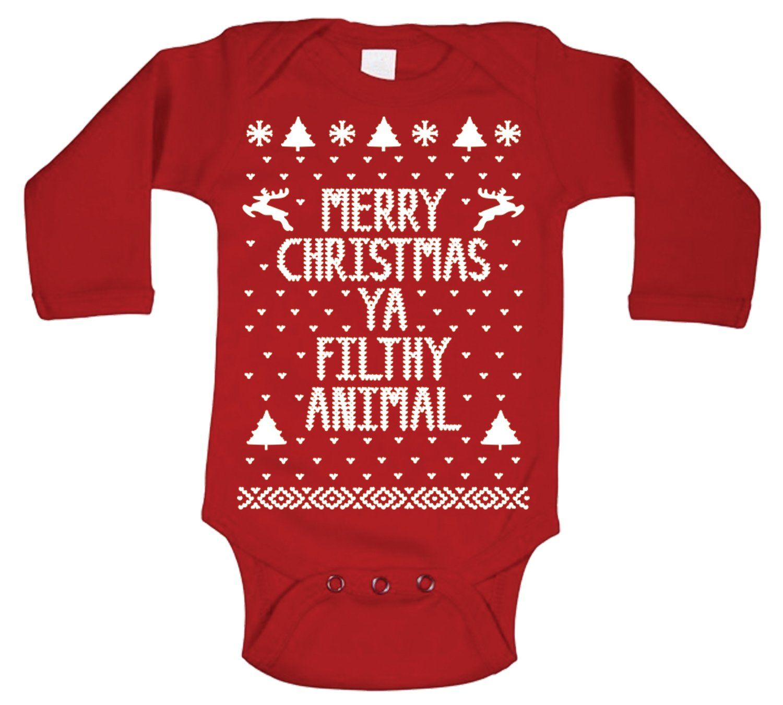 Amazoncom Merry Christmas Ya Filthy Animal Baby Long Sleeve One