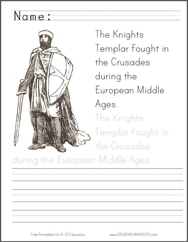 crusades+coloring+pages | ... Coloring Page with Handwriting ...
