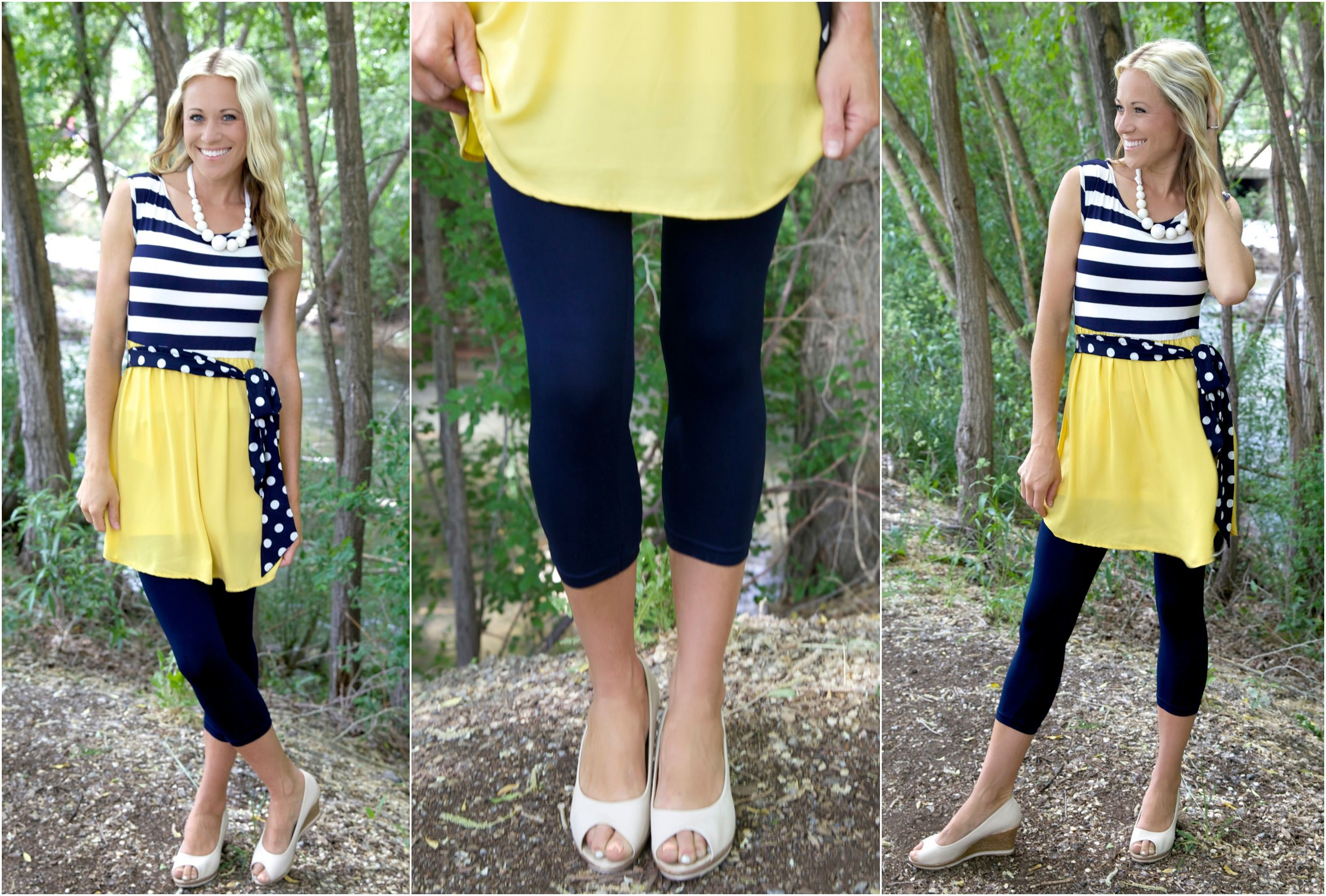 Navy & White Striped Dress w/ Polka Dot Sash $28.99!! Also available in Jade @The Nest On Main!!