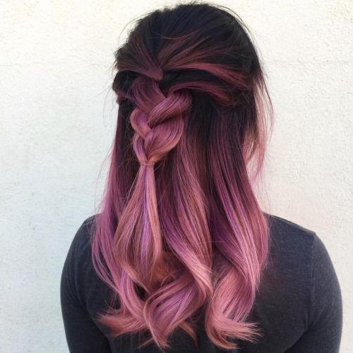 Rose Gold Pink Violet Pastel Ombre On Dark Hair