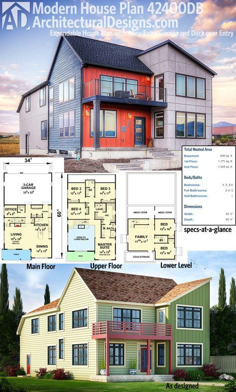 Plan 42400DB: Expandable House Plan With Alley Entry Garage And Deck Over  Entry