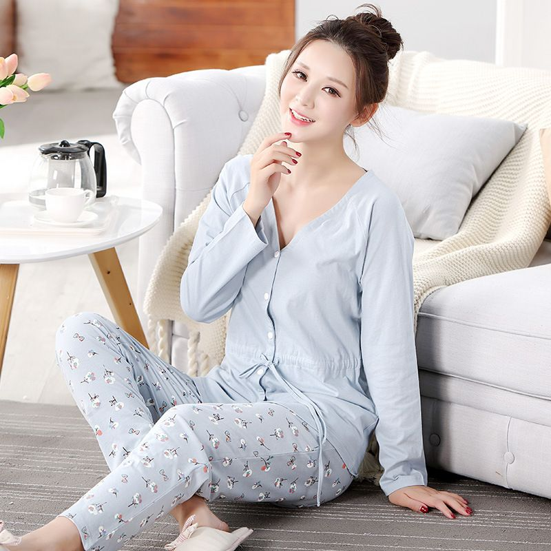 Maternity Sleepwear Suit Pregnant Pajamas Nursing Tops+Pants Cotton Nightgown