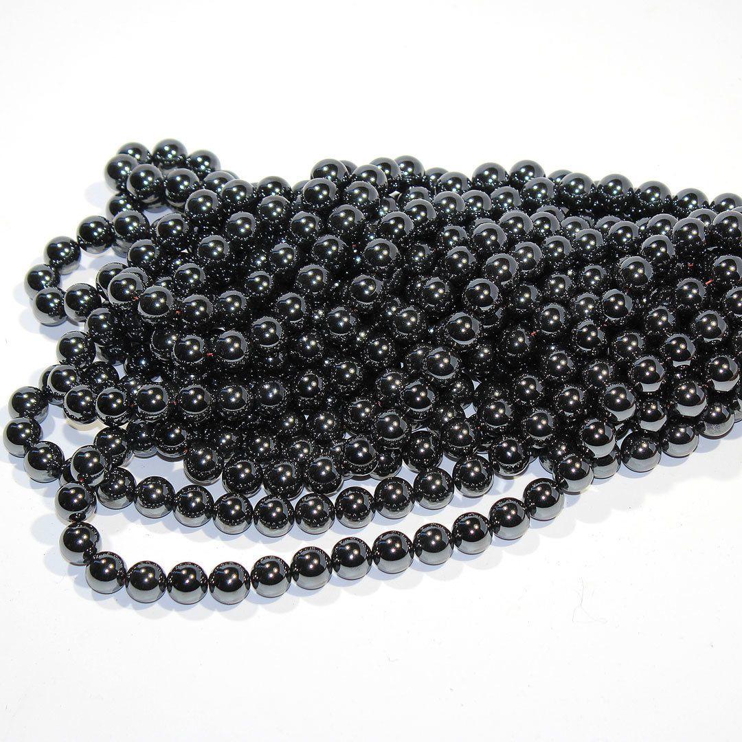 10 10mm Czech Glass Round Beads Hematite