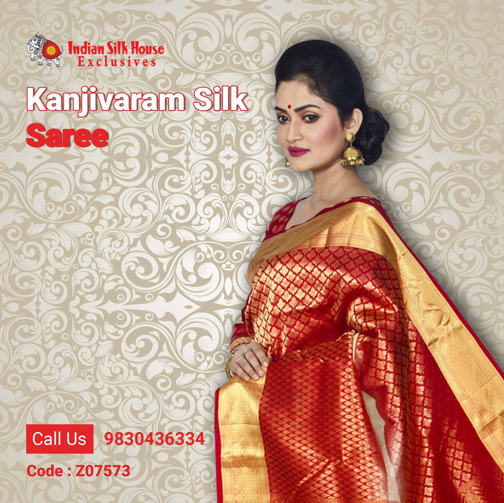 b8a235c68e6a33 Be the envy of others with this fantastic red and white Kanjivaran silk  saree. #Kanjivaram, #sarees, #SilkSaree