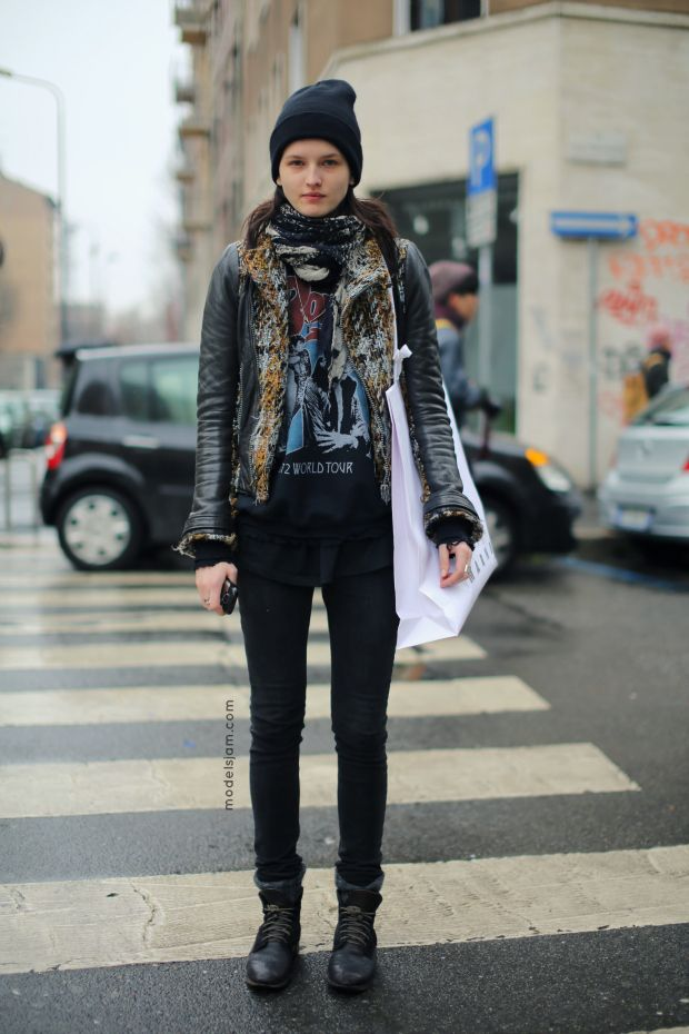 Model Kaitlin Aas After Marni Street Style From Milan Fashion Week At The Spring Summer