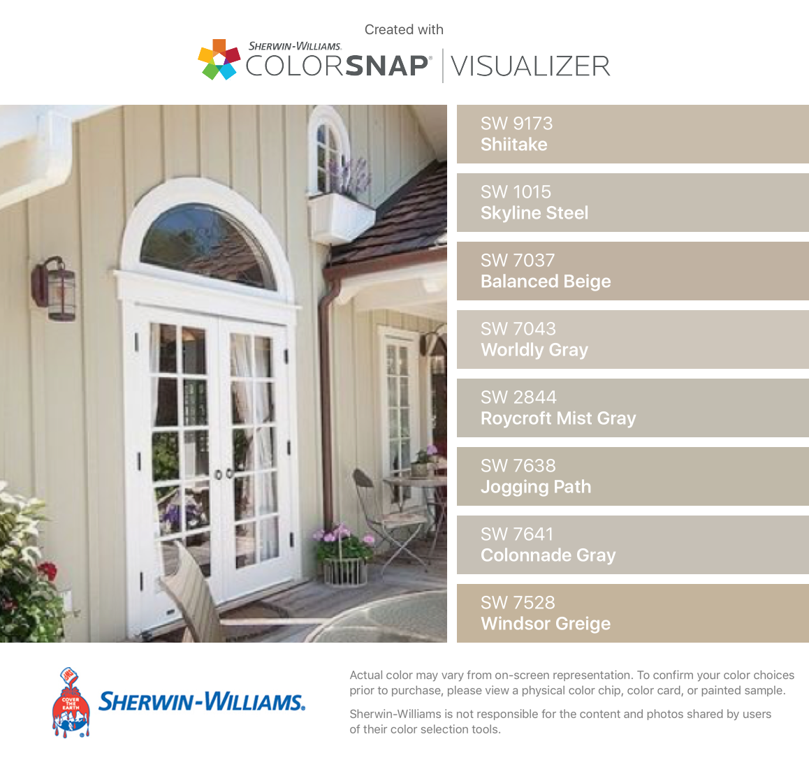 I found these colors with colorsnap visualizer for iphone by sherwin williams shiitake sw for Sherwin williams exterior paint color visualizer