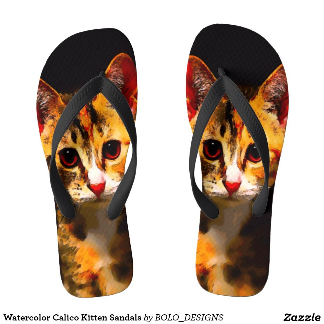 Watercolor Calico Kitten Sandals Zazzle Com In 2020 Calico Kitten Flip Flop Sandals Sandals