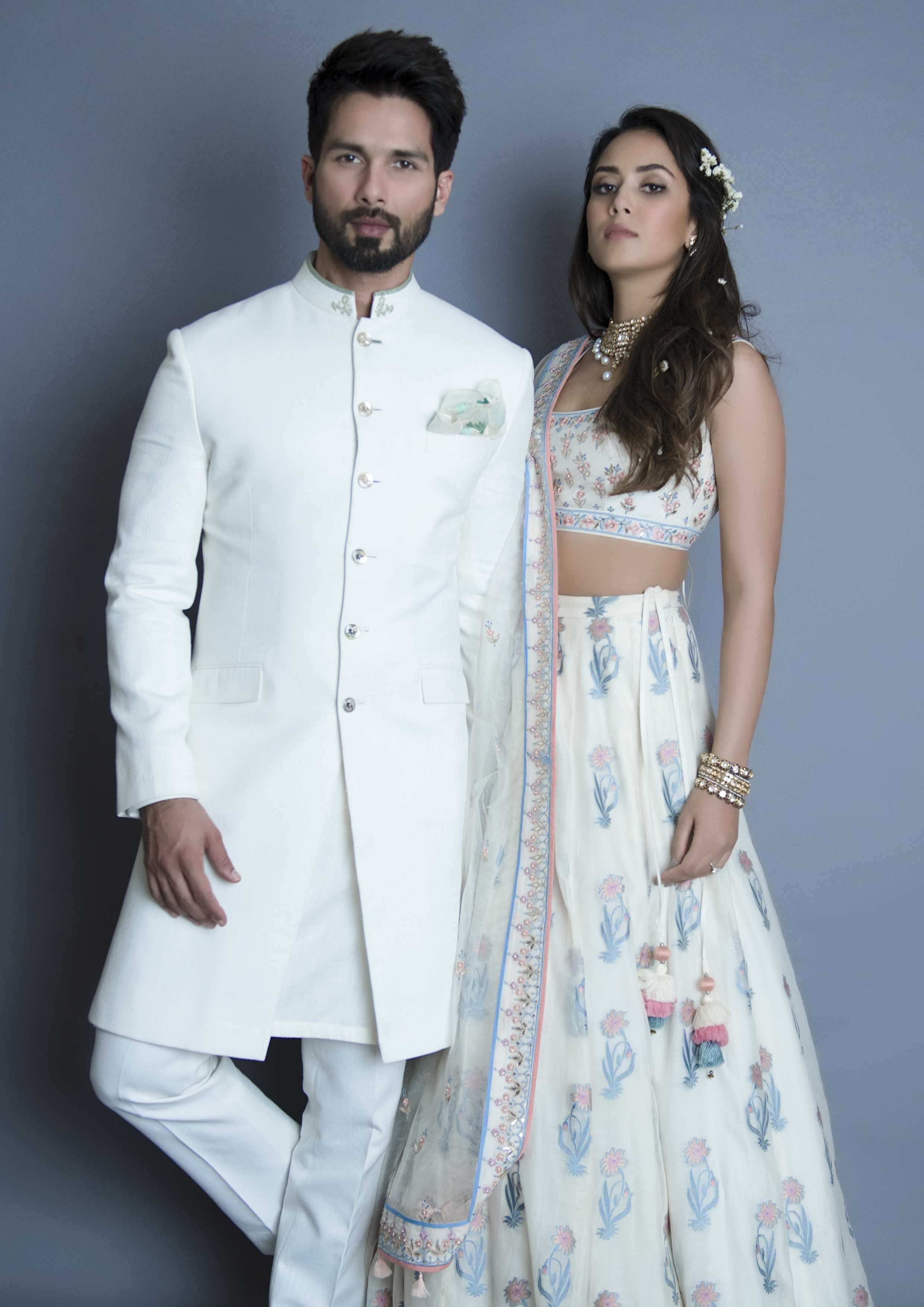 a87cadac1df6 White Lahenga with Pastel Flowers-Anita Dongre. The stunning couple Shahid  and Mira for Anita Dongre  Frugal2Fab