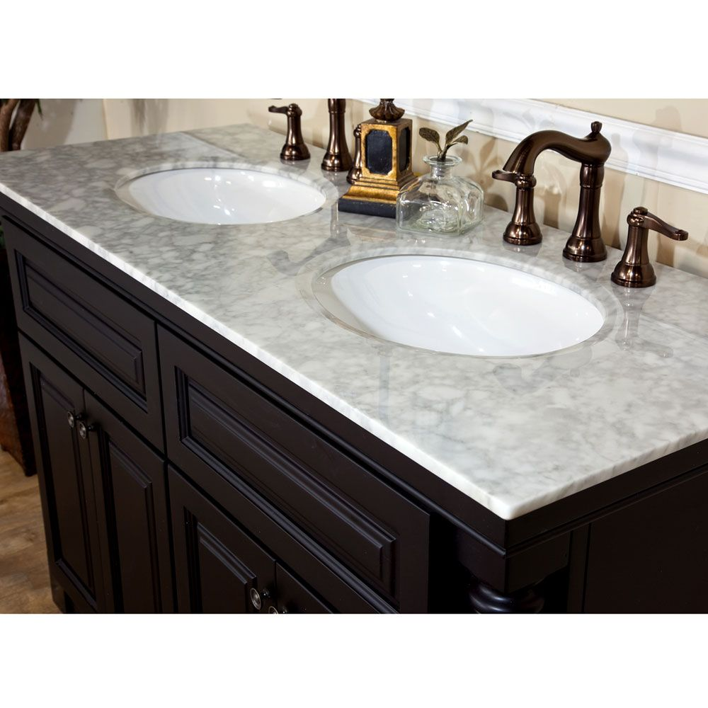 Bella 55 Inch Double Sink Bathroom Vanity Italy Carrara Top