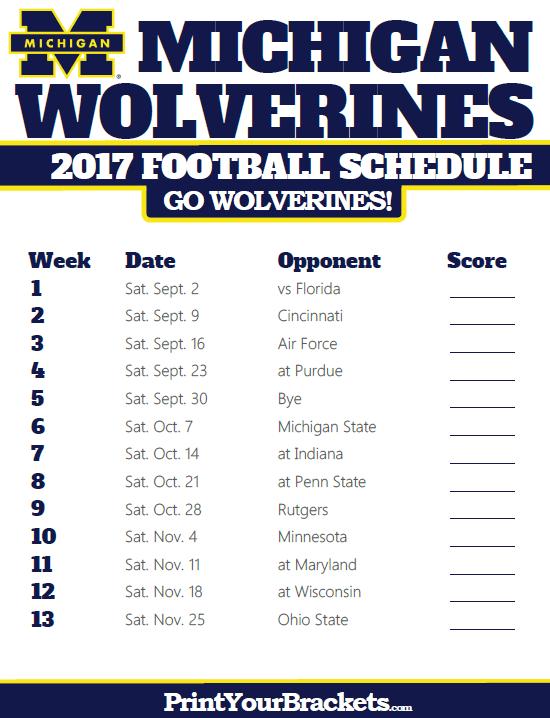 2017 Michigan Wolverines Football Schedule Michigan Wolverines