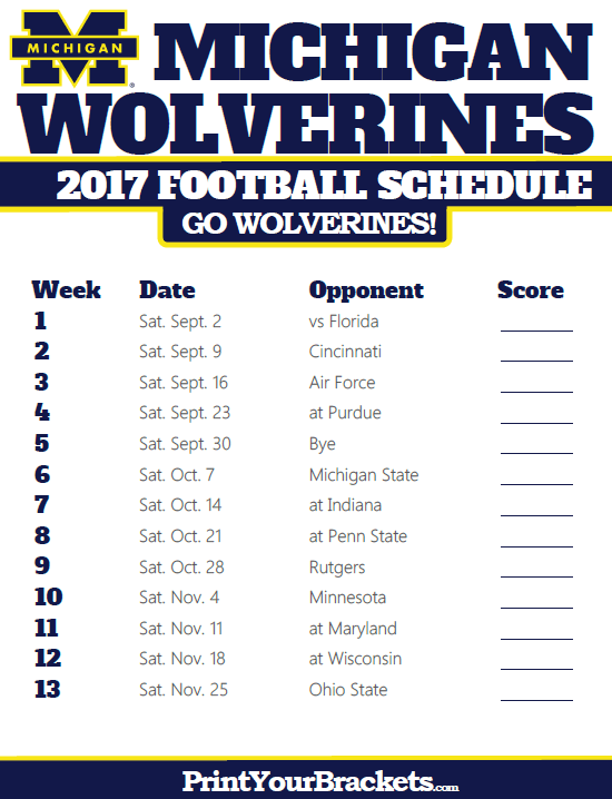 2017 Michigan Wolverines Football Schedule Michigan Wolverines Football Schedule Michigan Wolverines Football Wolverines