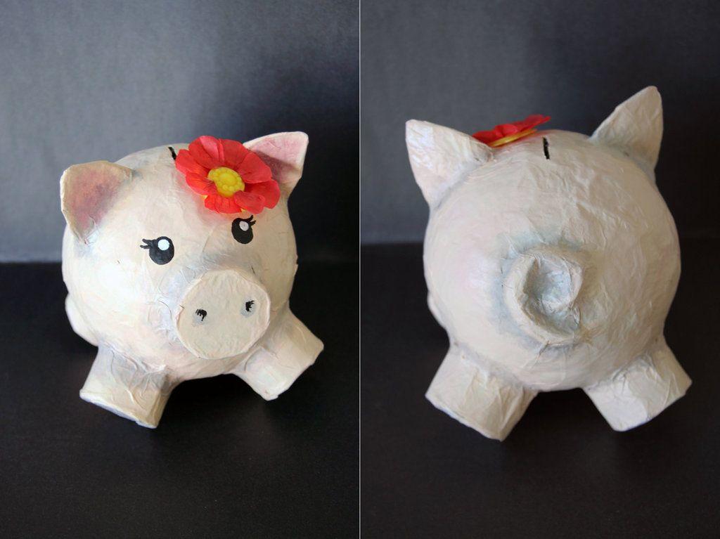 Paper mache piggy bank by belleteacher on deviantart for Paper mache crafts