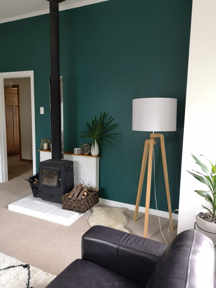 Green Living Room Feature Wall Colour Resene Deep Teal Green
