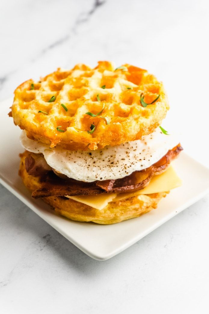 Keto Chaffle Breakfast Sandwich with Bacon and Egg - Green and Keto -  Try this recipe for a keto b