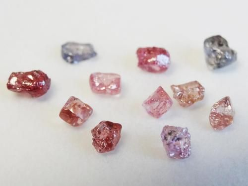 suite of Argyle pink and blue diamonds  (natural untreated fancy diamonds) (color is as it came out) origin: Argyle mine, Australia