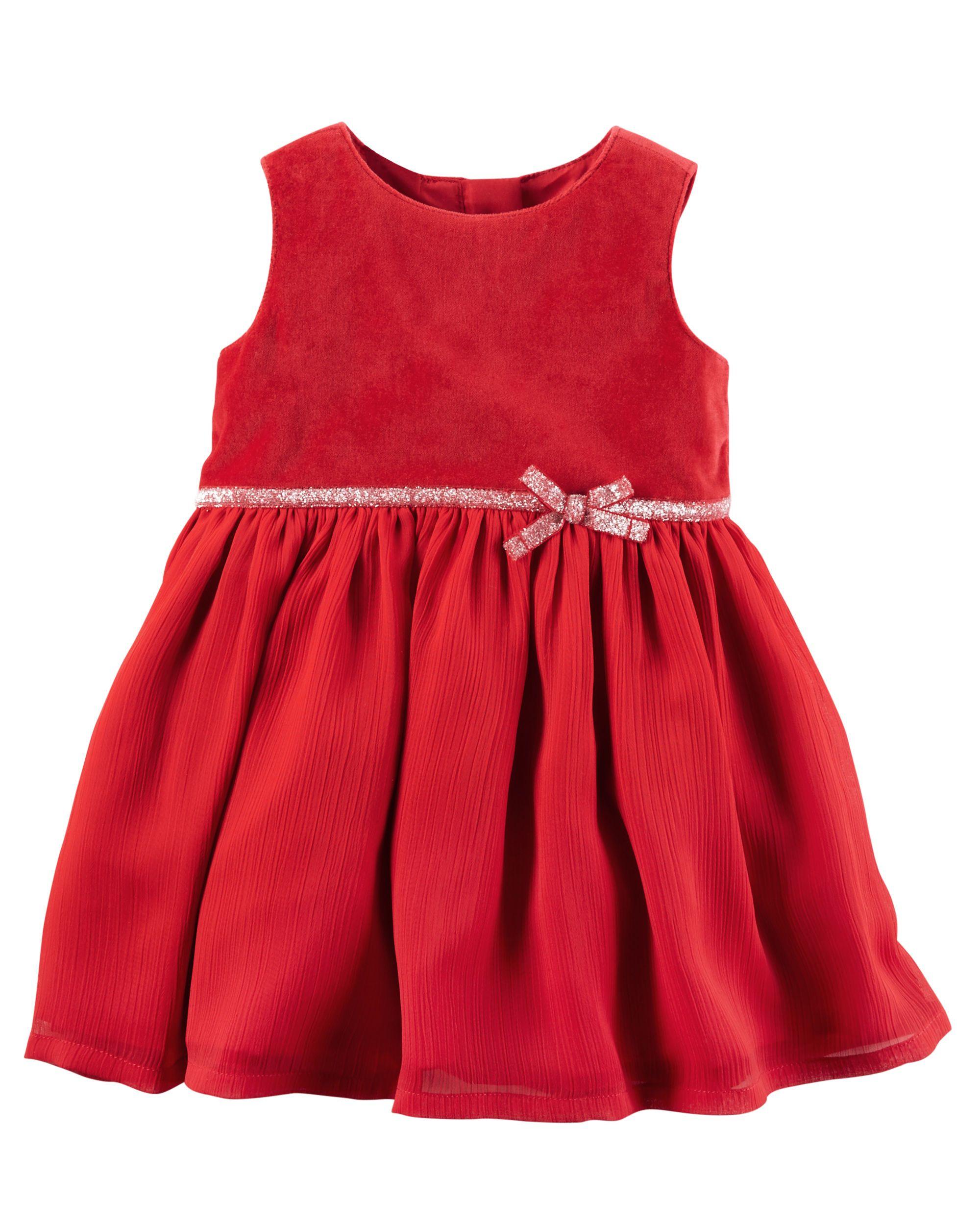 992704620abc Baby Girl Velveteen Glitter Belt Dress | Carters.com | Carter's ...