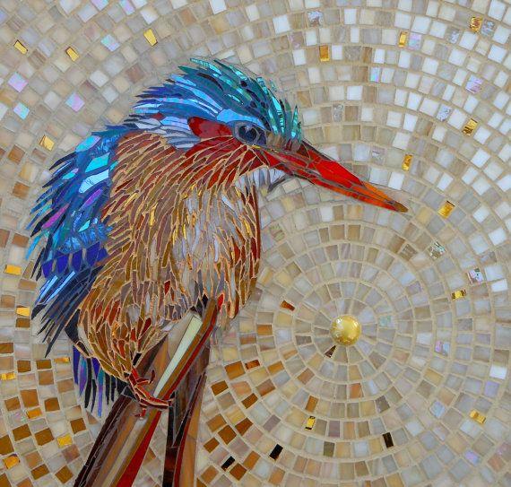Eisvogel-Karte  Malachit Kingfisher Mosaik  von LAMosaicGifts