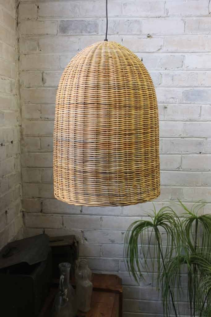 Bell wicker pendant light rattan pendant lighting and lights rattan pendant light shade in two sizes mozeypictures Image collections