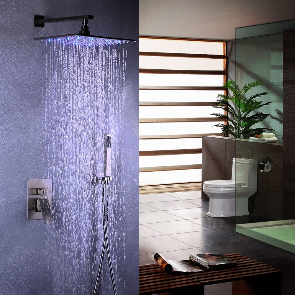 Dree Modern Stainless Steel Wall Mount Led Square Rain Showerhead