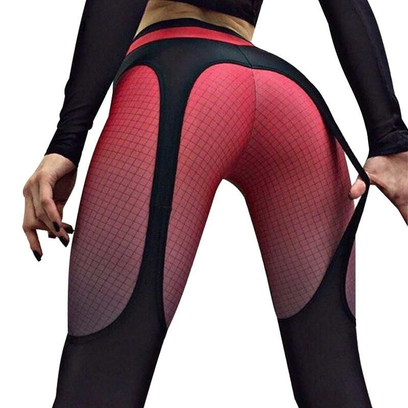 Hayoha 2018 Patchwork leggings women sportswear plaid gradient color  Elastic pants bodybuilding fitness leggins 78cc147cb