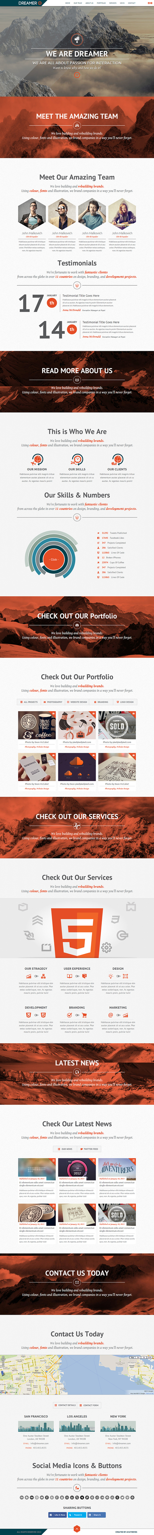Dreamer Responsive One Page Parallax Template By Avathemes Via