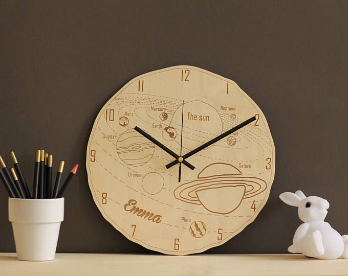 Space clock / Solar system clock / Personalized kids wall clock ...