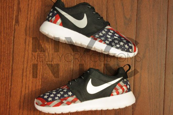 Nike Roshe Run Black White American Flag Pride V5 by NYCustoms