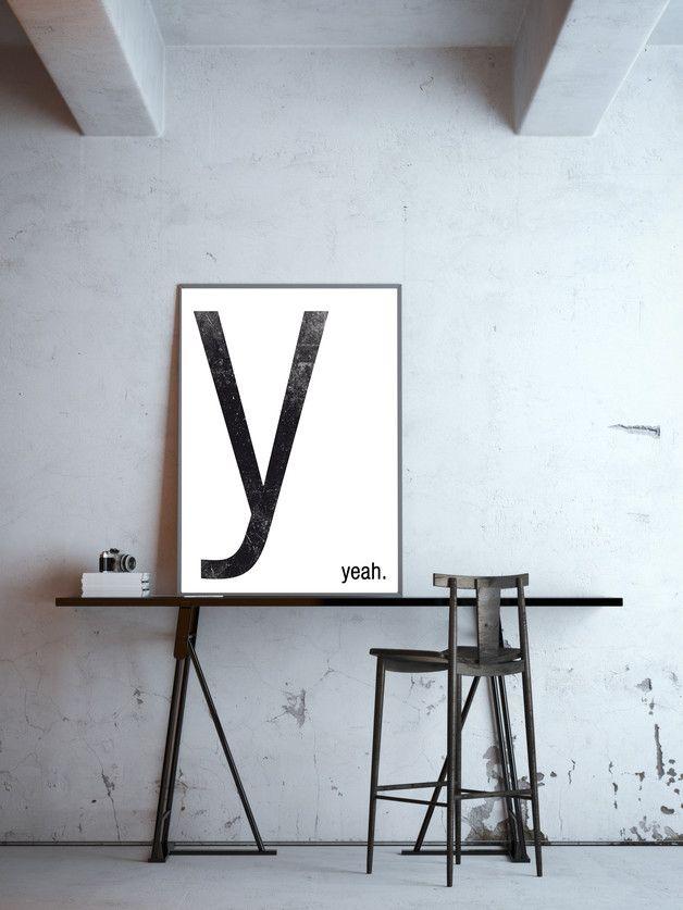 y - yeah, wähle Dein Wort, Poster, DIN A4 minimalistisches - wandbilder f r die k che