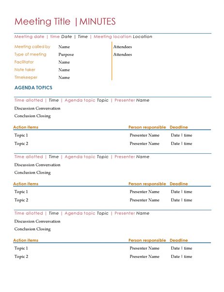 Agendas and minutes examples of thesis