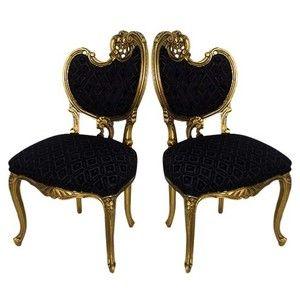 Beau Hollywood Regency Glamor Modern Baroque Chair Pair   VandM.com .