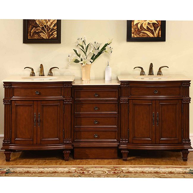 Silkroad Exclusive Marble Top 80 Inch Double Sink Vanity Cabinet (Crema  Marfil Top)