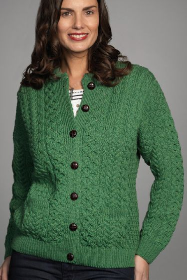 85d8c93c00d9ca Carraig Donn Irish Aran Wool Sweater Womens Cable Knit Lumber Jacket  Cardigan