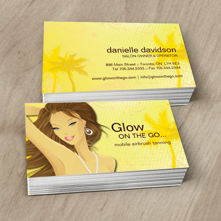 Fully Customizable Tanning Salon Business Cards Designed By Colourful Designs Inc