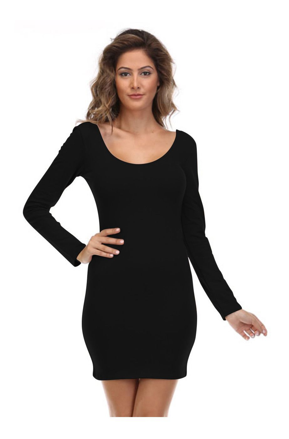 Missguided elvira scoop neck long sleeve midi dress in black in