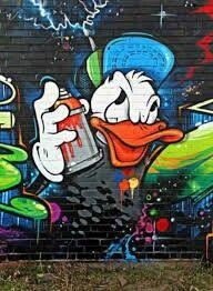 Donald Duck With Spay Can Graffiti Cartoons Street Art