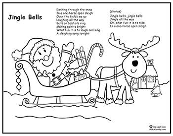 Jingle Bells Song, Santa Sleigh Coloring Page, & Lyrics